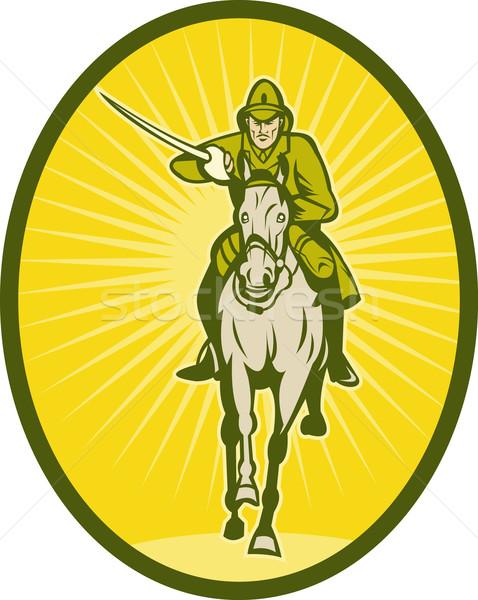 騎兵 実例 剣 馬 兵士 ヘルメット ストックフォト © patrimonio
