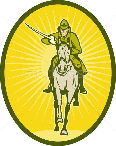 Caballería ilustración espada caballo soldado casco Foto stock © patrimonio