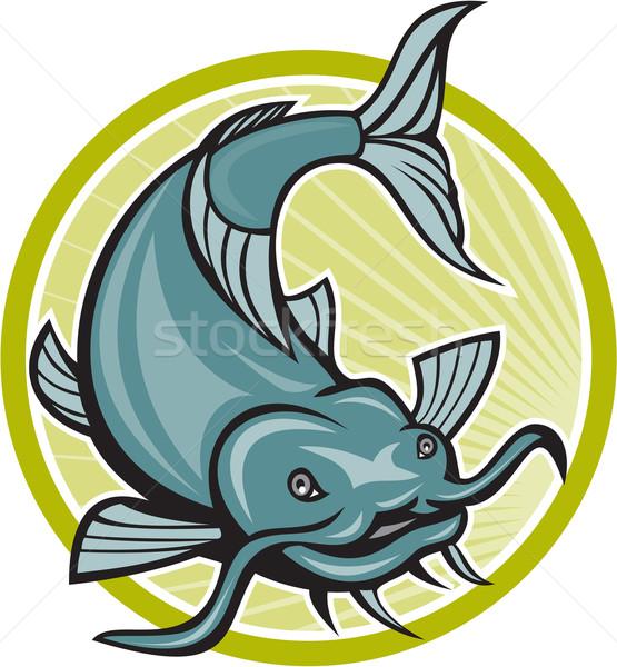 Catfish Attacking Circle Cartoon Stock photo © patrimonio