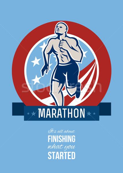 Marathon coureur rétro affiche carte de vœux Photo stock © patrimonio