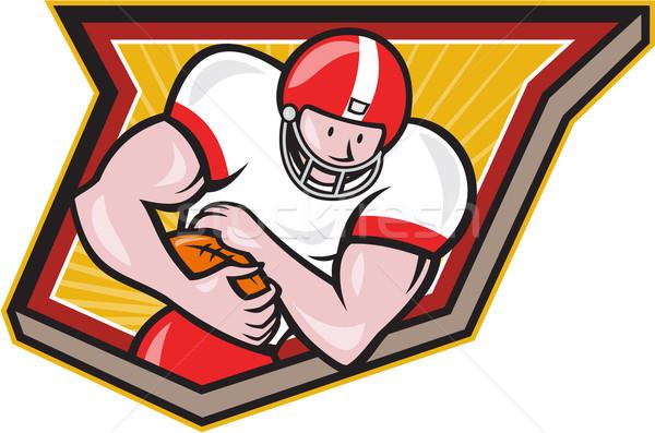 American Football Running Back Run Shield Cartoon Stock photo © patrimonio