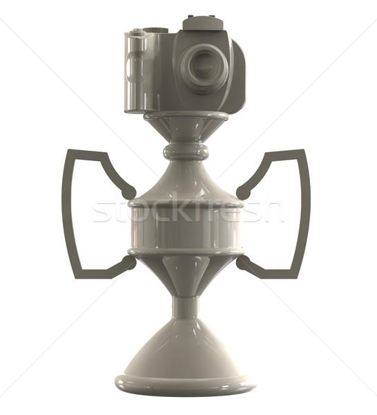 Dslr kamera ganimet fincan yalıtılmış beyaz Stok fotoğraf © patrimonio