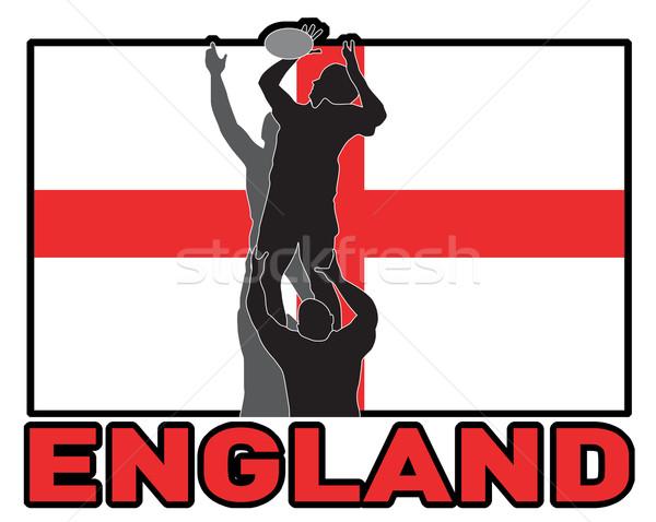 Rugby lineout throw ball england flag Stock photo © patrimonio
