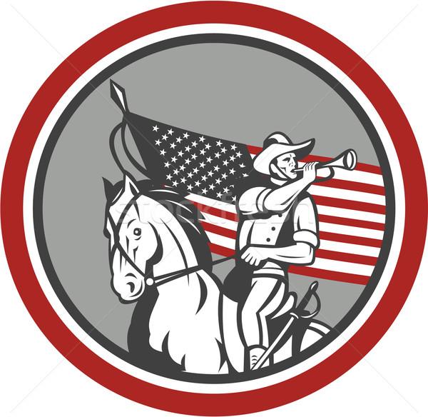 Stock fotó: Amerikai · lovasság · katona · fúj · kör · illusztráció