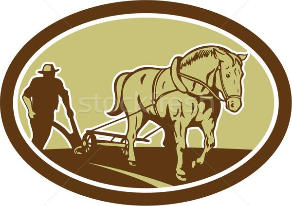 At çiftçi çiftlik oval Retro örnek Stok fotoğraf © patrimonio
