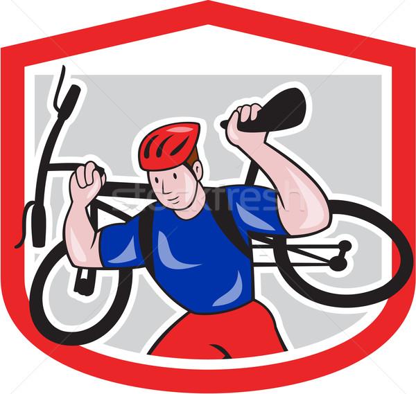Fietser mountainbike schouders cartoon illustratie Stockfoto © patrimonio