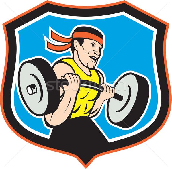 Weightlifter Lifting Barbell Shield Cartoon Stock photo © patrimonio