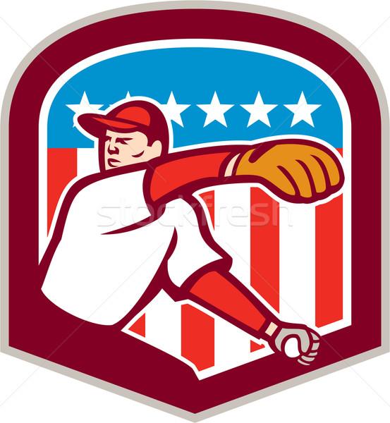 American Baseball Pitcher Throw Ball Shield Cartoon Stock photo © patrimonio