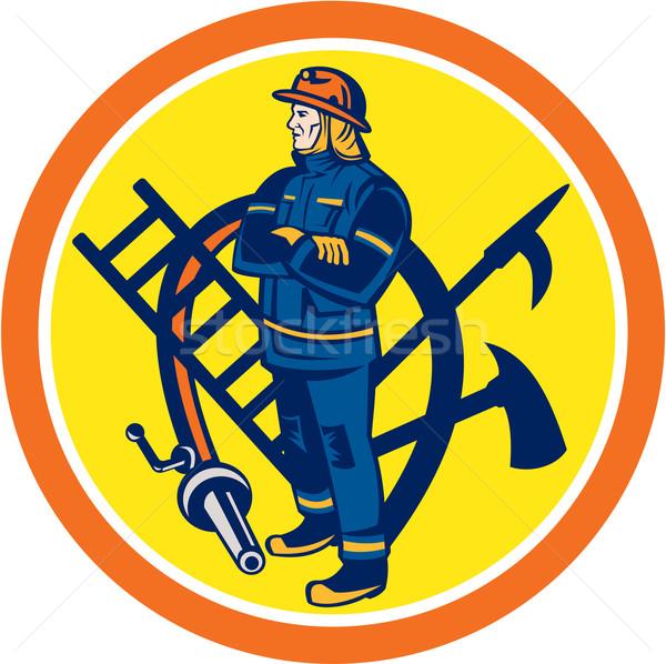 Fireman Firefighter Fire Hose Ladder Circle Stock photo © patrimonio