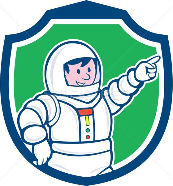Astronaut Pointing Front Shield Cartoon Stock photo © patrimonio