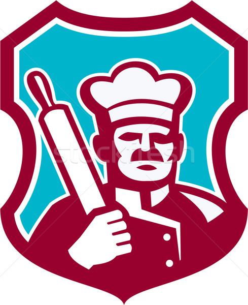 Baker Chef Cook Rolling Pin Shield Retro Stock photo © patrimonio