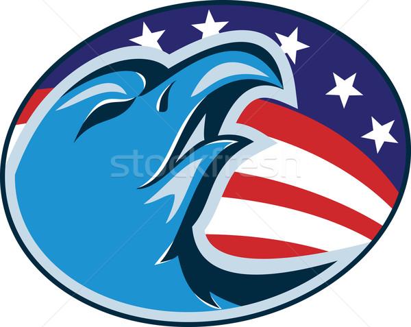 американский лысые орел голову флаг ретро Сток-фото © patrimonio