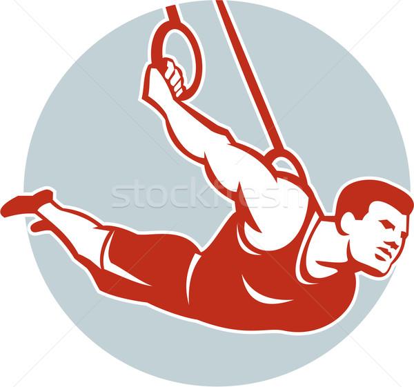 Crossfit atleet gymnastiek ring retro illustratie Stockfoto © patrimonio