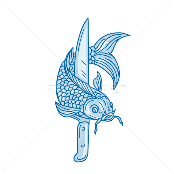 Koi Nishikigoi Carp Fish Knife Drawing Stock photo © patrimonio