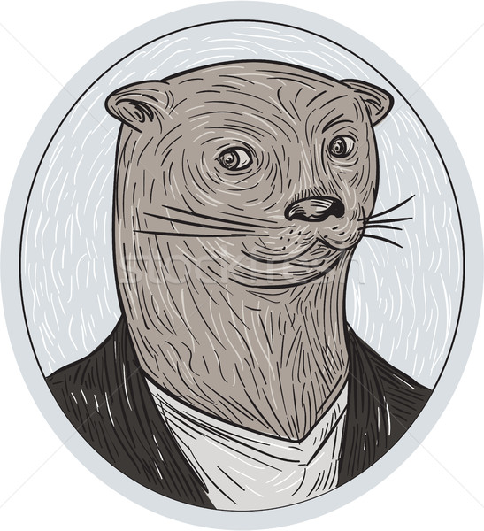 Otter Head Blazer Shirt Oval Drawing Stock photo © patrimonio