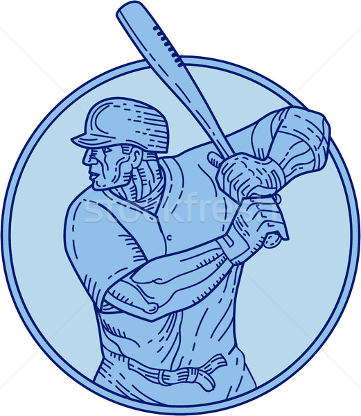 Baseball Player Batter Batting Circle Mono Line Stock photo © patrimonio