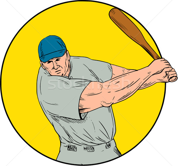Baseball Player Swinging Bat Drawing Stock photo © patrimonio