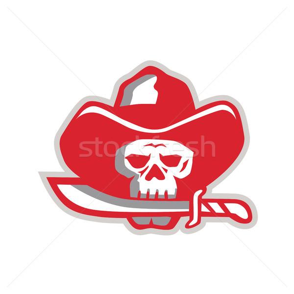 Stockfoto: Cowboy · piraat · schedel · mes · retro