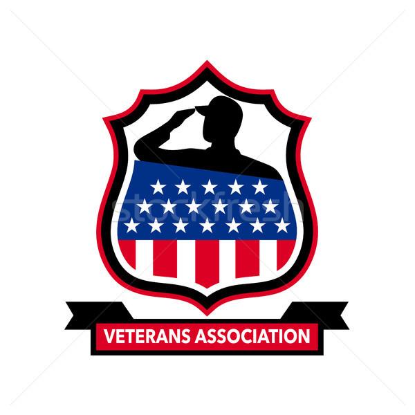 Amerikai veterán pajzs ikon retró stílus illusztráció Stock fotó © patrimonio