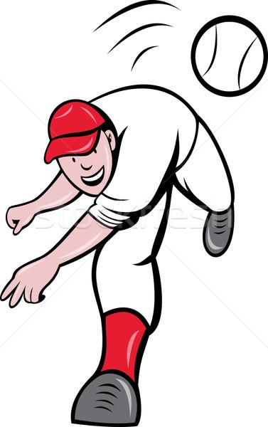 Jogador de beisebol bola ilustração desenho animado estilo Foto stock © patrimonio