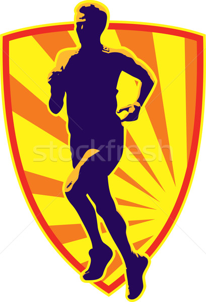マラソン ランナー を実行して レトロな 実例 ジョギング ストックフォト © patrimonio