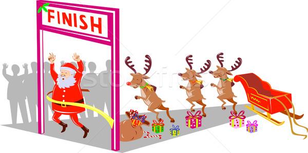 Papá noel carrera ilustración padre Navidad Foto stock © patrimonio