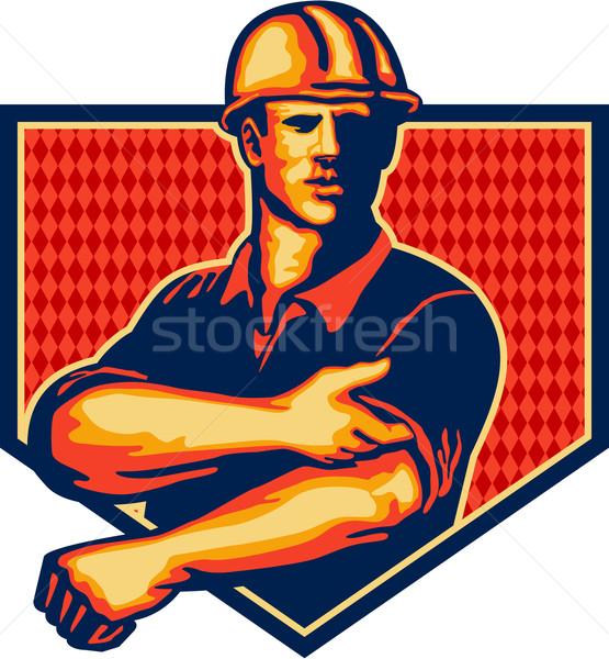 建設作業員 アップ スリーブ レトロな 実例 着用 ストックフォト © patrimonio