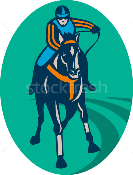 Ló zsoké versenyzés versenypálya illusztráció elöl Stock fotó © patrimonio