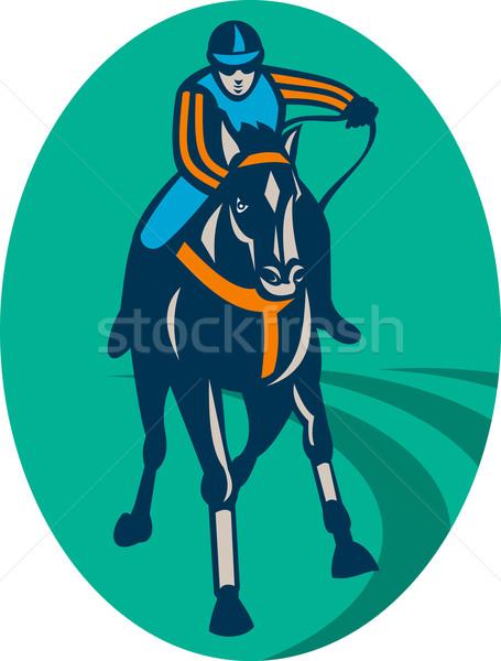 Horse and jockey racing  race track Stock photo © patrimonio