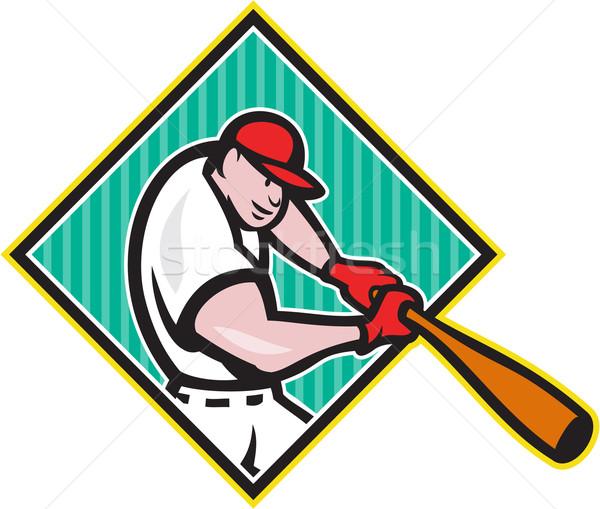 Jogador de beisebol diamante desenho animado ilustração americano bat Foto stock © patrimonio