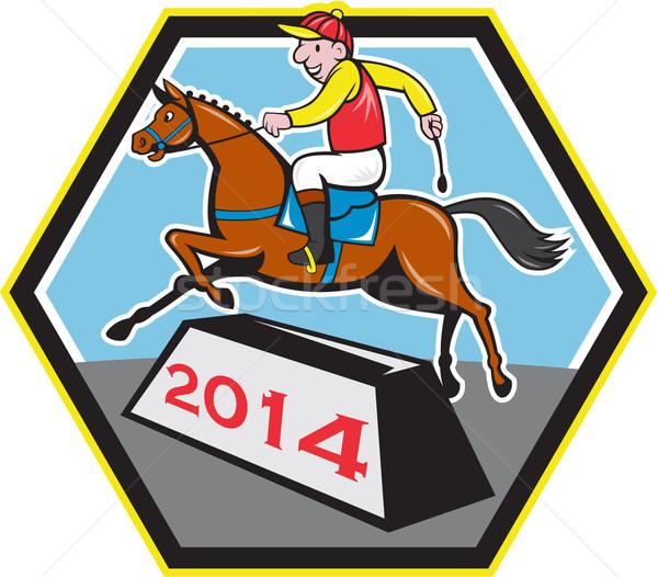 год лошади 2014 жокей прыжки Cartoon Сток-фото © patrimonio