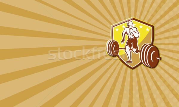 Crossfit atléta futó súlyzó pajzs retro Stock fotó © patrimonio