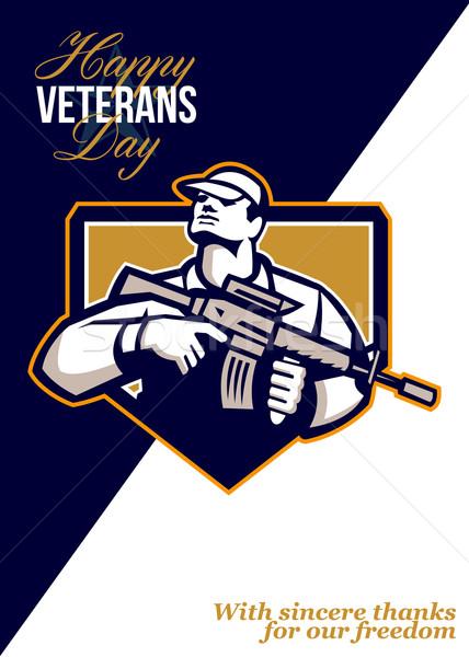 Modern Soldier Veterans Day Greeting Card Retro Stock photo © patrimonio