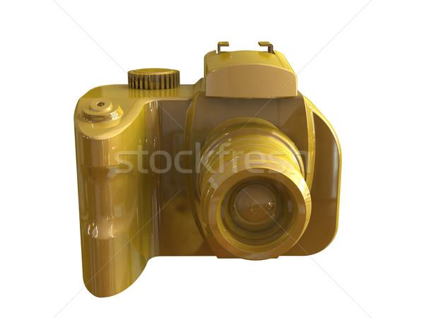 Altın dslr kamera yalıtılmış beyaz 3d render Stok fotoğraf © patrimonio