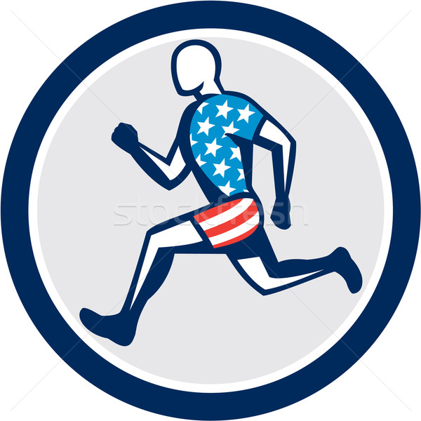 American Sprinter Runner Running Side View Retro Stock photo © patrimonio