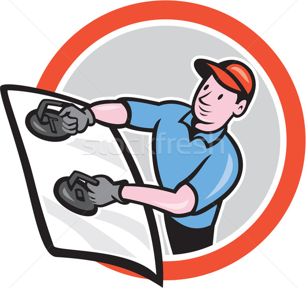 Automotive Glass Installer Front Circle Cartoon Stock photo © patrimonio