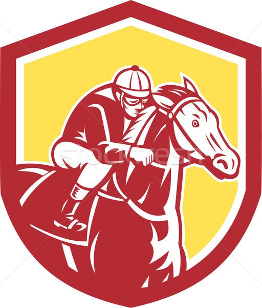 Jockey courses de chevaux bouclier rétro illustration cheval Photo stock © patrimonio