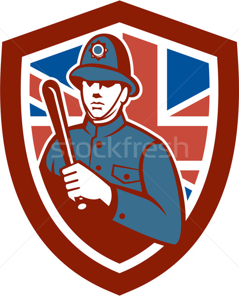 British Bobby Policeman Truncheon Flag Shield Retro Stock photo © patrimonio