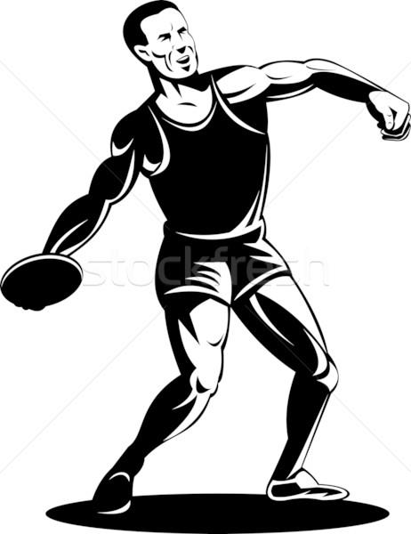 Male discus athlete isolated white background Stock photo © patrimonio