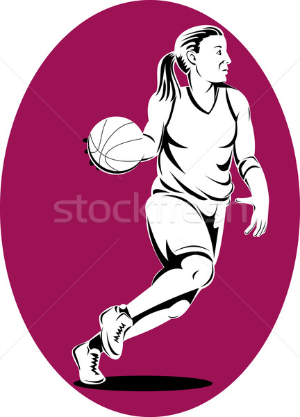 Female basketball player side view purple circle white background Stock photo © patrimonio