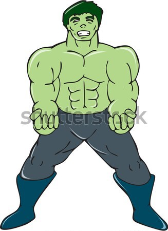 Orc Warrior Wielding Sword Running Cartoon Stock photo © patrimonio