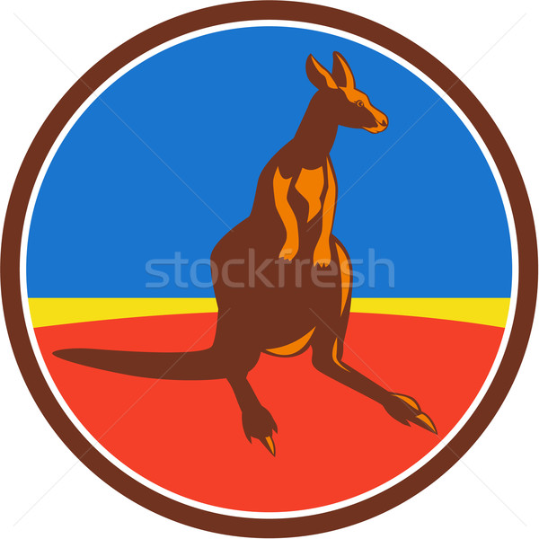 Kangaroo Circle Retro Stock photo © patrimonio