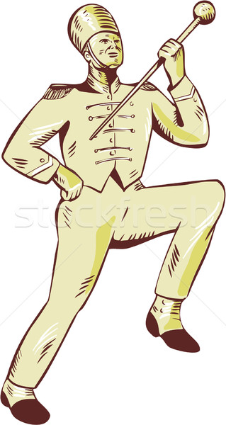 Stock photo: Drum Major Marching Band Leader Etching