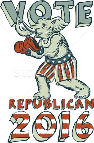 Oy cumhuriyetçi 2016 fil boksör yalıtılmış Stok fotoğraf © patrimonio