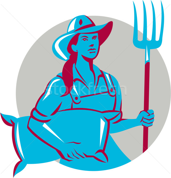Female Organic Farmer Sack Pitchfork Circle Retro Stock photo © patrimonio