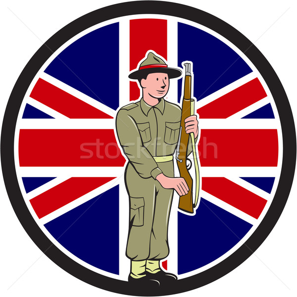 British World War II Soldier Union Jack Flag Cartoon Stock photo © patrimonio