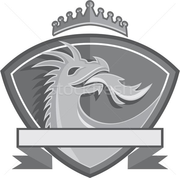Dragão respiração fogo coroa escudo retro Foto stock © patrimonio