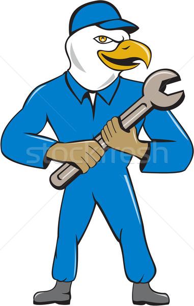 американский лысые орел механиком гаечный ключ Cartoon Сток-фото © patrimonio