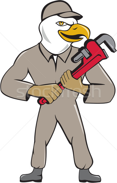 Bald Eagle Plumber Monkey Wrench Cartoon Stock photo © patrimonio