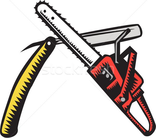 Chainsaw Straight Razor Crossed Woodcut Stock photo © patrimonio